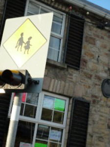 School ahead children crossing